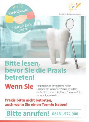 Corona Information der Landeszahnärztekammer Hessen